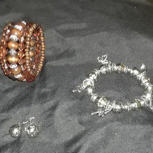 Jewelry - Vintage cuff wrap bracelet, charm bracelet and ear